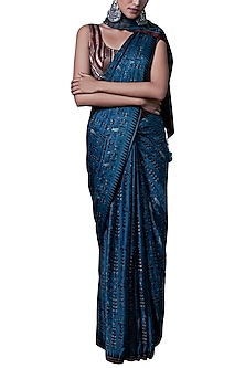 Blue printed saree with blouse piece by ANITA DONGRE