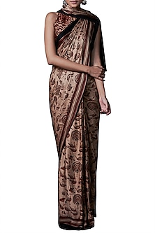Rust hand block printed saree with blouse piece by ANITA DONGRE