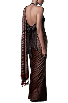 Rust block printed saree with blouse piece by ANITA DONGRE