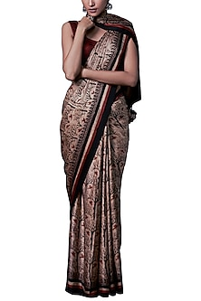 Rust printed saree with blouse piece by ANITA DONGRE