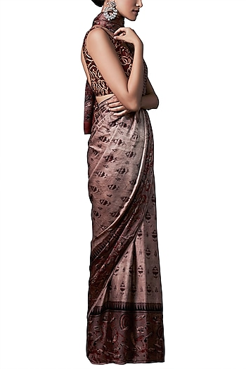 Rust hand block print saree with blouse piece by ANITA DONGRE