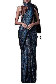 Blue hand block print saree with blouse piece by ANITA DONGRE