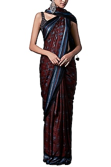 Rust block print saree with blouse piece by ANITA DONGRE
