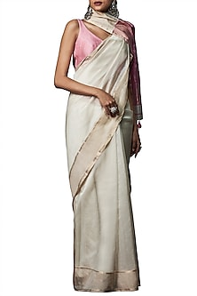 Off white handwoven saree with blouse piece by ANITA DONGRE