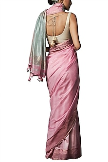 Pink handwoven saree with blouse piece by ANITA DONGRE