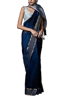 Blue handwoven saree with blouse piece by ANITA DONGRE