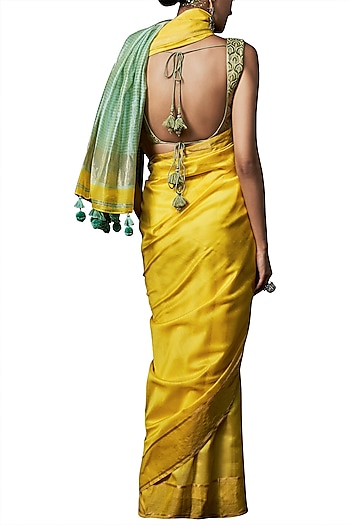 Yellow handwoven saree with blouse piece by ANITA DONGRE