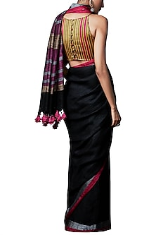 Black handwoven saree with blouse piece by ANITA DONGRE