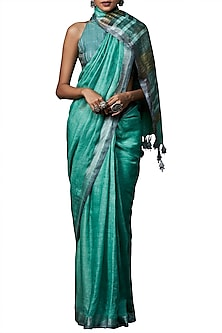 Aqua blue handwoven saree with blouse piece by ANITA DONGRE