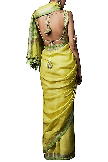 Sunny yellow handwoven saree with blouse piece by ANITA DONGRE