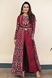 Ruby red embroidered jacket kurta with pants by Anita Dongre
