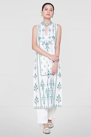 White & Blue Kurta With Pants by Anita Dongre