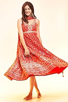 Red Embroidered Anarkali Set by Anita Dongre