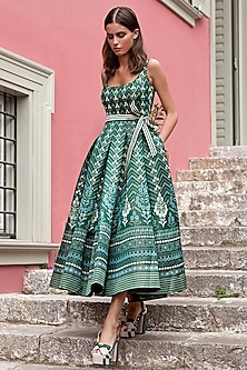 Emerald Green Printed & Pleated Dress by Anita Dongre