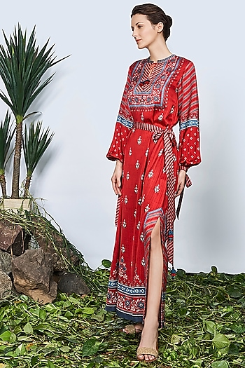 Red Side Slitted Kaftan by Anita Dongre