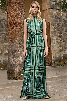 Emerald Green Collared Dress by Anita Dongre