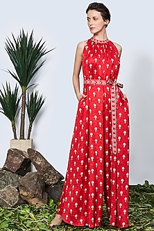 Red Sleeveless Floral Jumpsuit With Belt by Anita Dongre