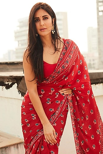 Red Printed Saree Set by Anita Dongre
