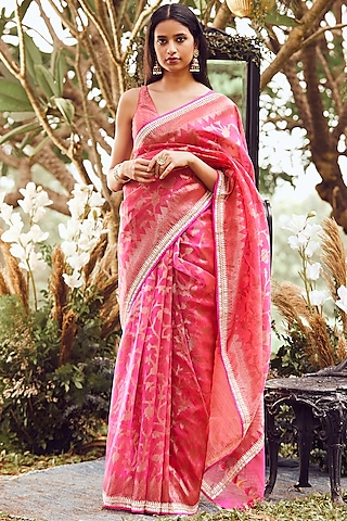 Pink Printed & Embroidered Saree Set by Anita Dongre