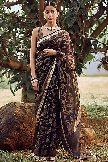 Black Printed & Embroidered Saree Set by Anita Dongre