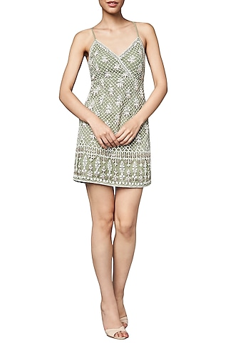 Sage Green Embroidered Dress by Anita Dongre