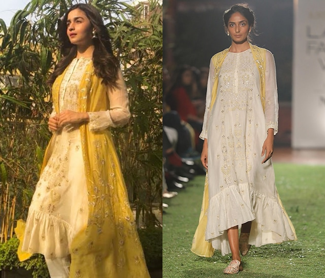 Yellow Embroidered Jacket with Natural Hued Tunic by Anita Dongre