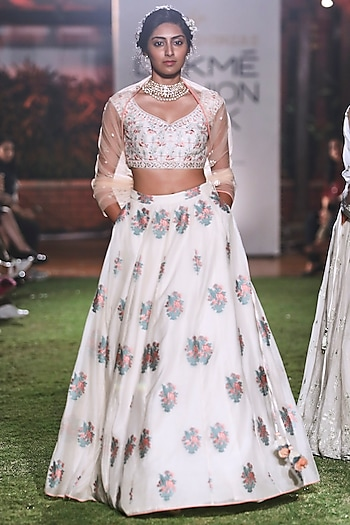Natural Hued Embroidered Brocade Lehenga Set by Anita Dongre