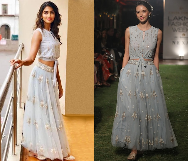 Ice Blue Embroidered Crop Top and Skirt Set by Anita Dongre