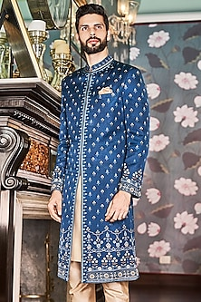 Navy Blue Printed Sherwani With Pockets by Anita Dongre Men