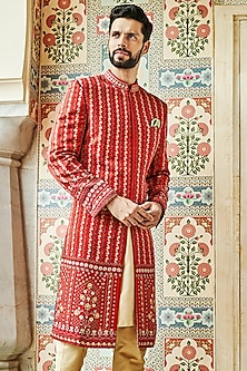 Red Embroidered & Printed Sherwani by Anita Dongre Men