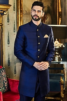 Navy Blue Sherwani With Golden Buttons by Anita Dongre Men