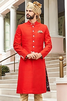 Red Embroidered Sherwani by Anita Dongre Men