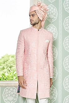 Light Pink Handwoven Sherwani by Anita Dongre Men