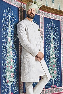 Off White Handwoven Sherwani by Anita Dongre Men