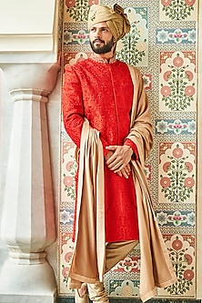 Red Embroidered Sherwani by Anita Dongre Men