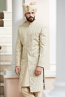 Golden Embroidered Bundi Jacket by Anita Dongre Men
