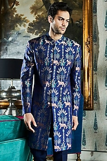 Navy Blue Printed Sherwani by Anita Dongre Men