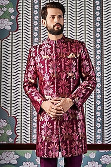 Wine Hand Woven & Printed Sherwani by Anita Dongre Men