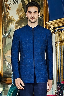 Navy Blue Bandhgala Jacket by Anita Dongre Men
