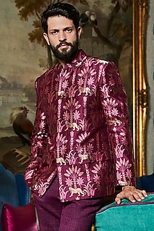 Wine Handwoven & Printed Bundi Jacket by Anita Dongre Men