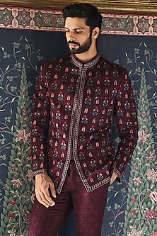 Wine Mandarin Collared Bandhgala Jacket by Anita Dongre Men
