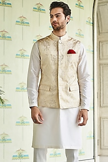 Gold Mandarin Collar Bundi Jacket by Anita Dongre Men