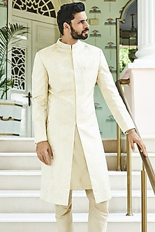 Golden Banarasi Silk Sherwani by Anita Dongre Men
