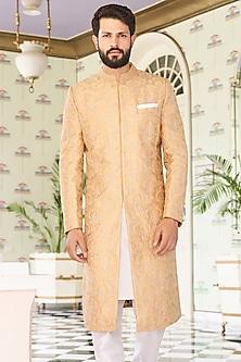 Golden Mandarin Collared Sherwani by Anita Dongre Men