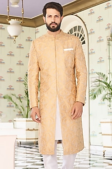 Golden Mandarin Collared Sherwani by Anita Dongre Men