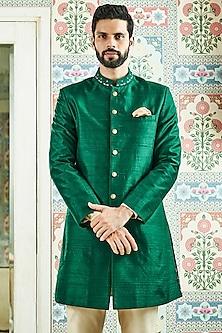 Green Mandarin Collar Sherwani by Anita Dongre Men