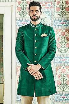 Green Mandarin Collar Sherwani by Anita Dongre Men