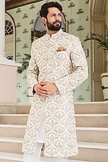Off White Mandarin Collar Sherwani by Anita Dongre Men