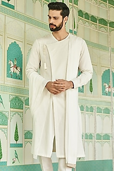 Off White Pintuck Kurta by Anita Dongre Men