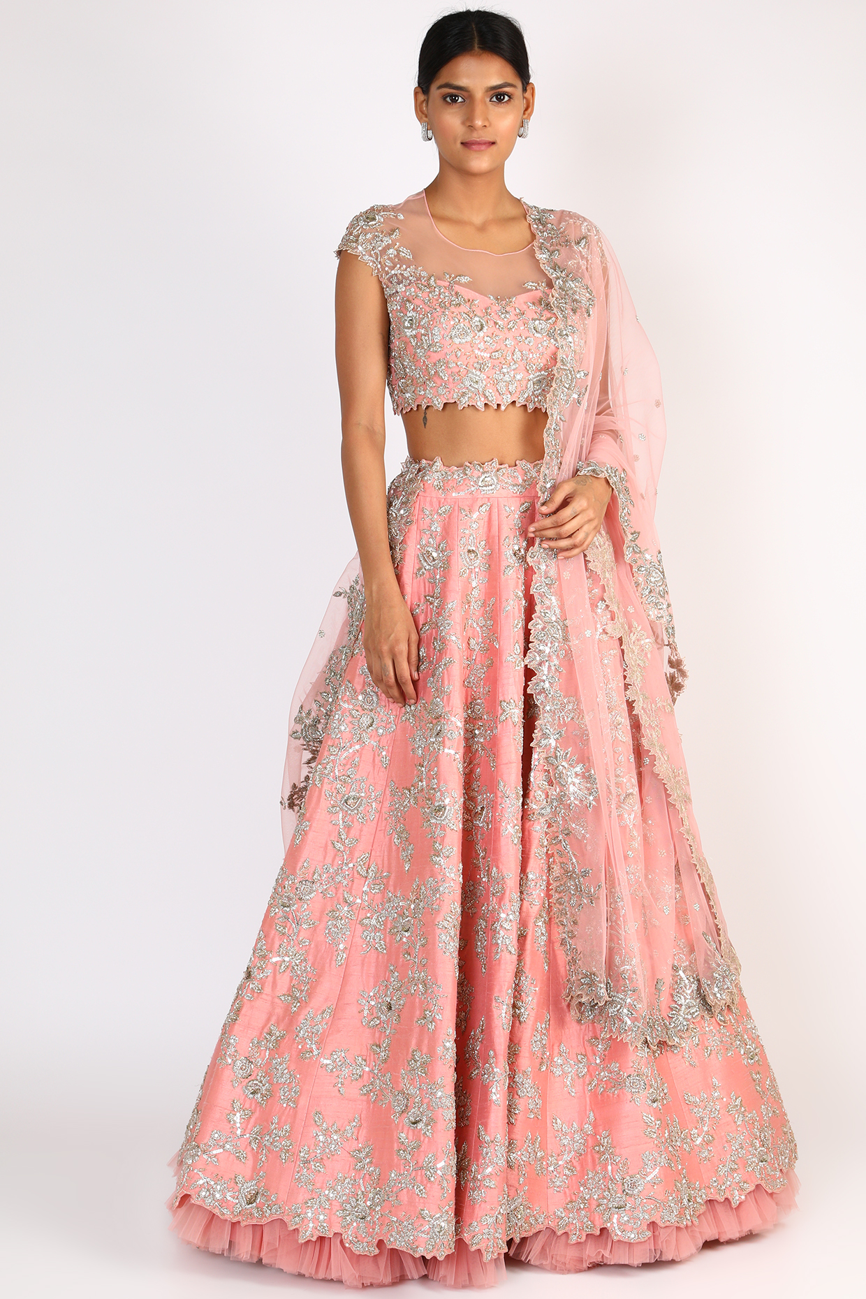 Blush Pink Embroidered Lehenga Set by Anushree Reddy